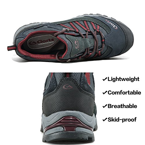 Clorts HKL831 Trekking Shoe Waterproof Hiking Men's Black Suede Outdoor Leather Shoe zwrUzq4