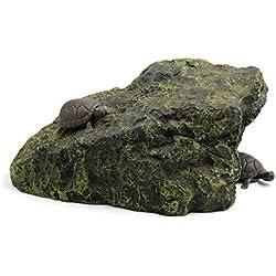 uxcell Dark Green Resin Climb Stone Tortoise Cave Reptiles House Ornament for Aquarium