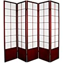 Oriental Furniture 6 ft. Tall Zen Shoji Screen - Rosewood - 5 Panels
