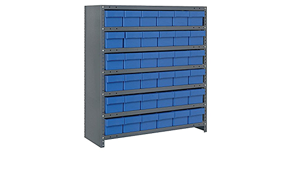 Amazon Com Closed Shelving Storage System With Euro Drawers Bin Color Blue Bin Dimensions 4 5 8 H X 5 9 16 W X 11 5 8 D Qty 36 Industrial Scientific