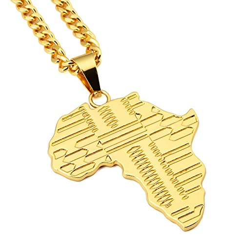 Men's Hip Hop 10 style Gold Plated African Map Pendant Necklace … (A)