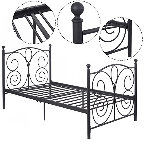 MasterPanel - 83''x43''x42'' Black Steel Twin Size Bed Frame Platform Foundation #TP3228 by MasterPanel