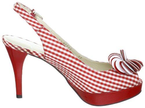 mujer de Pennies tela Stuart Weitzman fashion Rot rojo Red Sandalias wq4SRYa