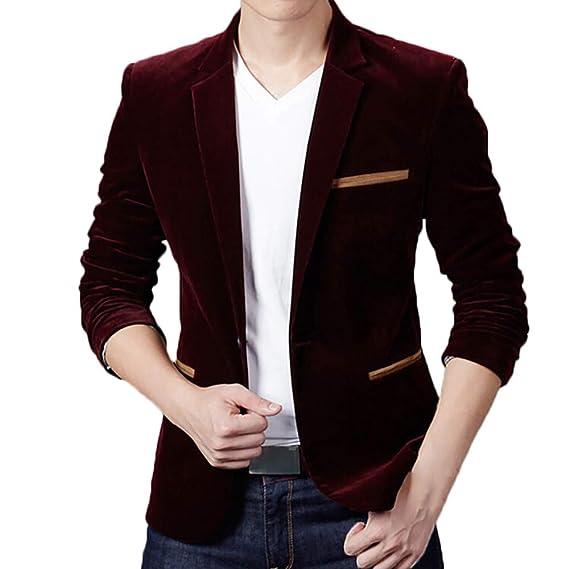 Amazon.com: Mens Autumn Winter Casual Corduroy Slim Long Sleeve Coat Suit Jacket Blazer Top One Button Blazer Jacket: Clothing