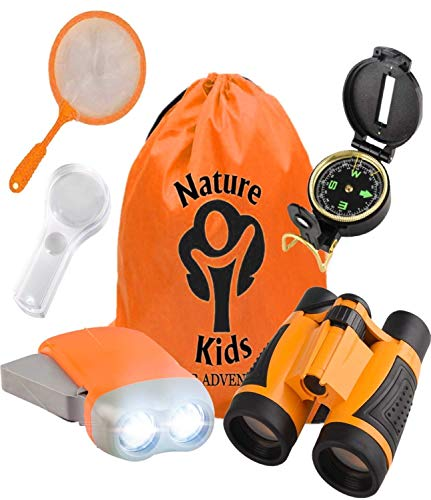 Adventure Kids - Outdoor Explorer Kit, Children's Toy Binoculars, Flashlight, Compass, Magnifying Glass, Butterfly Net & Backpack. Great Kids Gifts Set for Birthday, Christmas, Camping and Educational ()