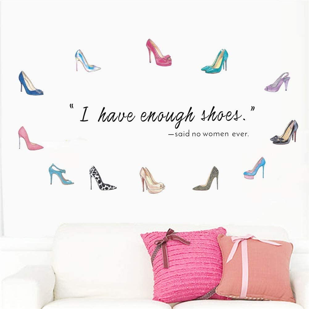 TOARTi Watercolor High Heels Wall Sticker,Colorful Beauty Women Shoes Decal for Girls Women Bedroom Living Room Decor,Dress Up Inspirational Quote Female Theme Decoration