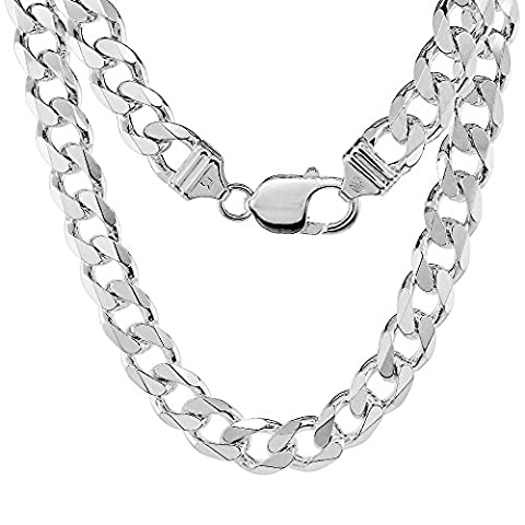 Sterling Silver Thick Curb Cuban Link Chain Necklace 9mm Beveled Edges Nickel Free Italy, 26 inch - Sterling Silver Cuban Link Chain