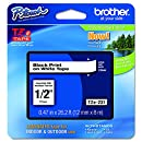 "Brother P-touch TZe231, 1/2"" (0.47"") Black on White Standard Laminated Tape - 26.2 ft. (8m)"