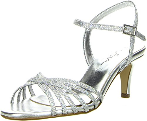 Vista Damen Sandaletten Glitzeroptik silber, Größe:37;Farbe:Silber