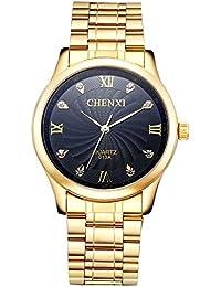 Mens Gold Watch Ip Plated Metal Bracelet Big Black Crystal Dial Reloj de Hombres SWCX013A