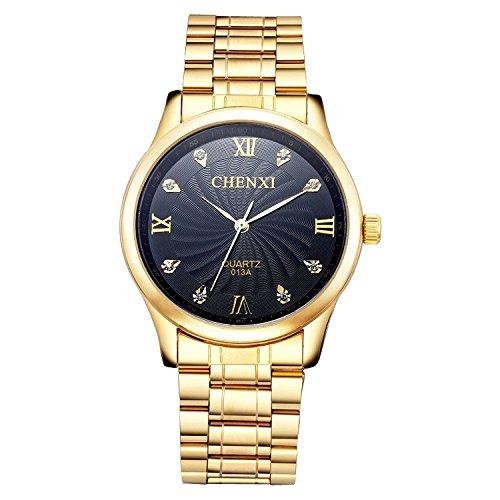Dial Black Ip Bracelet - ShoppeWatch Men's Gold Watch IP Plated Metal Bracelet Big Black Crystal Dial Reloj de Hombres SWCX013A