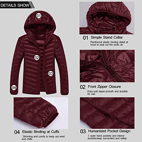 SWISSWELL Packable Lightweight Hooded Puffer Coat For Men Wine 2X-Large by SWISSWELL (Image #4)