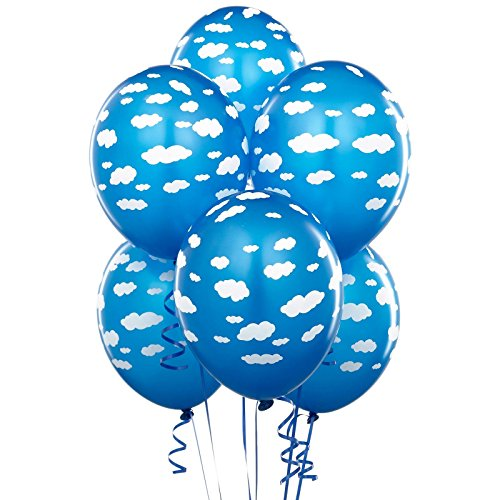 Mid Blue with Clouds Matte Balloons (Airplane Balloon)