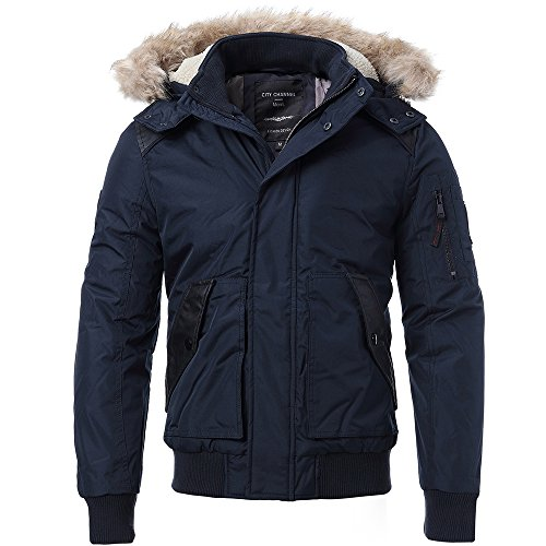 FLY HAWK Men's Casual Warm Arctic Cloth Anorak Coat With Removable Faux Fur-Trimmed Hood For Winter Fall,Navy Blue,US Size L (Tag Size - Guide Mens Style Fall