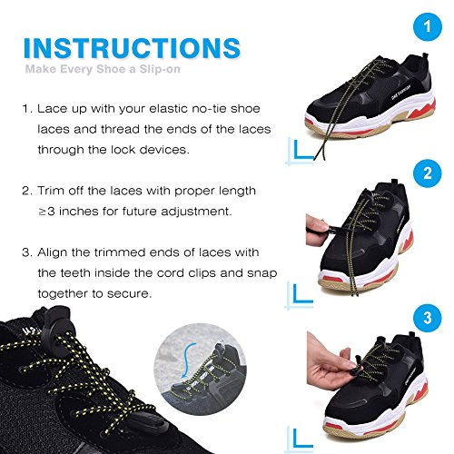 No Tie Shoelaces, UNIKOS Elastic Shoe Laces for Kids and Adults for Sneaker Marathon Running Working Shoe Hiking Boots (Gray White . BK) by UNIKOS (Image #6)