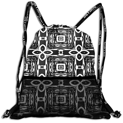 Taslilye Ornament With Elements Of Black And White Colors Drawstring Backpack Front Zipper Mesh Bag Unisex For Travel Fitness