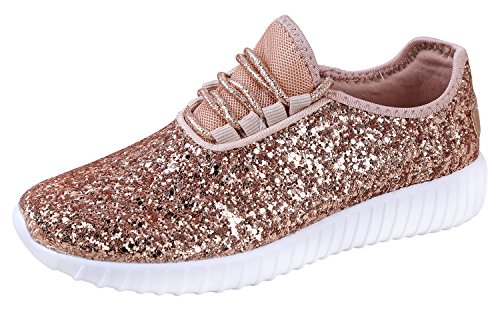 JKNY Kids Girls Fashion Metallic Sequins Glitter Lace up Sneakers Rose Gold 9 by JKNY (Image #1)