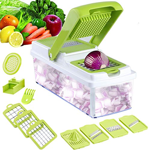 Vegetable Slicer Dicer WEINAS Food Chopper Cuber Cutter, Cheese Grater Multi Blades for Onion Potato Tomato ()