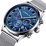 Mens Watches Stainless Steel Black Classic Luxury Casual Watches with Multifunctions Chronograph Sport Watches Waterproof 30M Business Fashion Quartz Wrist Watch for Men - Silver Blue