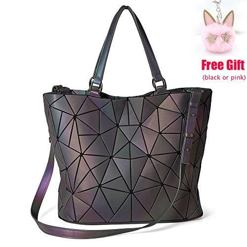 LOYOMA Geometric Luminous Purse Large Satchel Bag Holographic Tote Top Handle Handbag Rainbow Shoulder Bags (Style One)