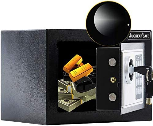 JUGREAT Safe Box with Induction Light,Electronic Digital Securit Safe Steel Construction Hidden with Lock Wall or Cabinet Anchoring Design for Home Office Hotel BusinessGun Passport Cash Pure Black