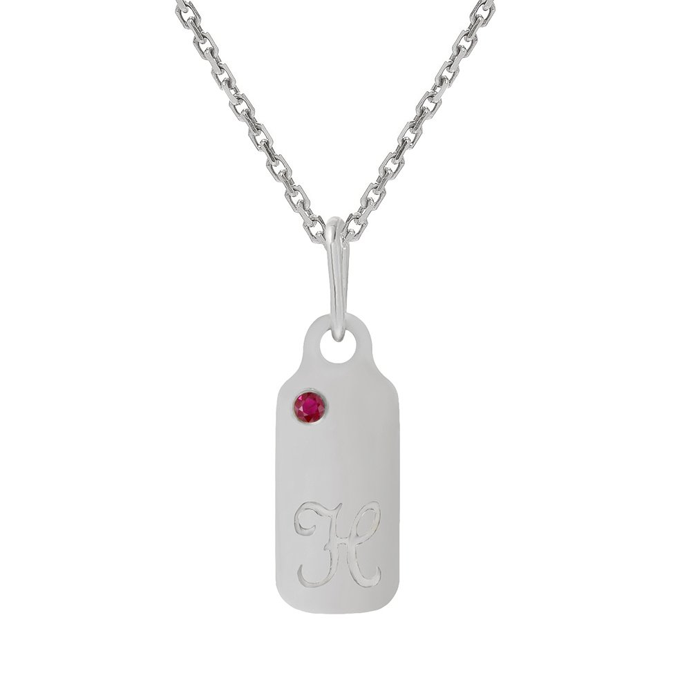 14k Gold Garnet January Birthstone Cursive Letter H Dog-tag Necklace