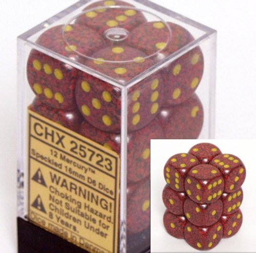 Chessex Dice d6 Sets: Mercury Speckled - 16mm Six Sided Die (12) Block of Dice
