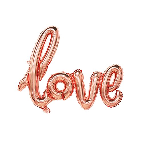 (Love Balloon Rose Gold | Valentines Day Decorations | Valentine Mylar Balloons | Wedding, Bridal Shower, Anniversary, Engagement Party Decor | Large Size, 30