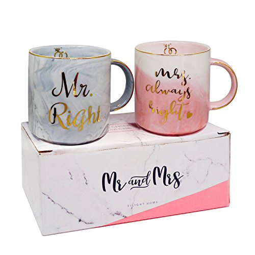 Vilight Wedding and Engagement Gifts - Mr Right Mrs Always Right Coffee Mugs Set - Present Idea for Bridal Shower and Couples Anniversary - Ceramic Marble Cups 11.5 oz with FREE GIFT TAG (Wedding Ideas Shower)