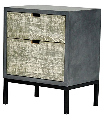 Heather Ann Creations The Nova Collection Modern Style Wooden Entry Way 2 Drawer Living Room Accent Cabinet, Grey by Heather Ann Creations