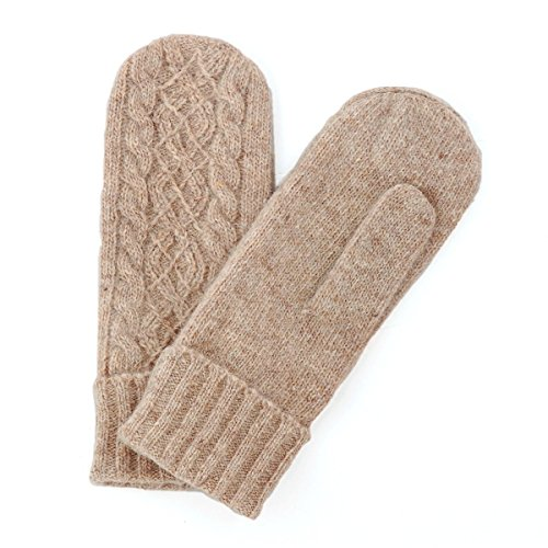 MATSU Women Lady's Wool Knit Mitten Winter Warm Gloves Hand Warmer GCG202 (One Size, Beige)