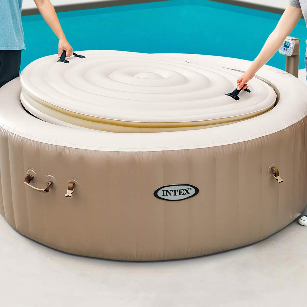 Intex 28474EX - Spa hinchable Burbujas, color crema, 4 personas 795 litros, con cobertor Full SPA
