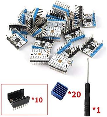 LWQJP 3Dプリンター20のスーパーサイレントTMC2208 V1.2ステッピングモータドライバモジュール+ 10PCSのヒートシンク+の5pcs Stepstickスムーズキットの3Dプリンターアクセサリー