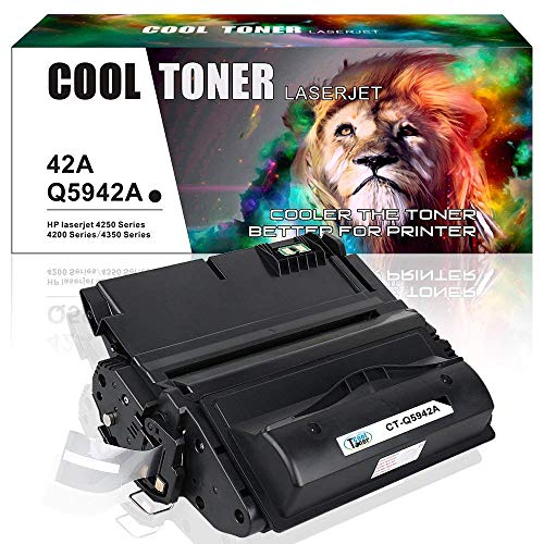 Cool Toner 1 Pack 10,000 Pages Compatible Toner Cartridge Replacement for Q5942A Q5942 42A Q1338A Used for Laserjet 4200 4240 4250 4250TN 4250N 4250DTN 4300 4350 4345MFP 4350N 4350TN - 4200tn Printer Hp