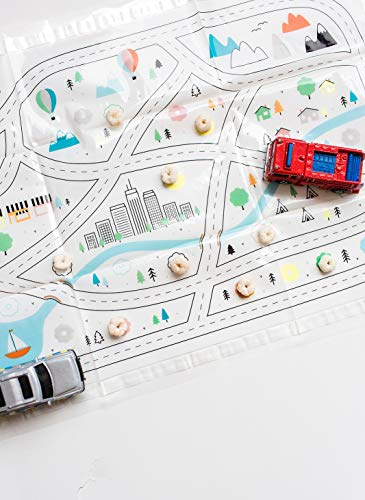 Disposable Placemats for Baby Toddlers Kids, Table Topper Disposable Placemats - Biodegradable BPA-Free Premium Super Sticky Stick-on Place Mats - Roadmap by Mini Explorers (60 Count) by Mini Explorers (Image #6)