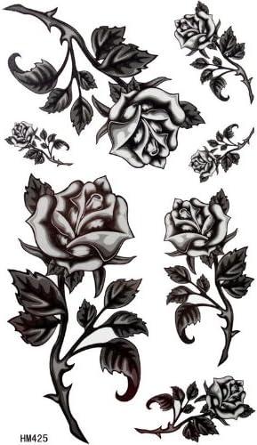Negra rosas alambre de espino femeninos impermeable Tattoo ...