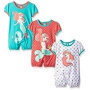 Disney Baby Ariel The Little Mermaid 3 Pack Rompers, Orange, 9 Months
