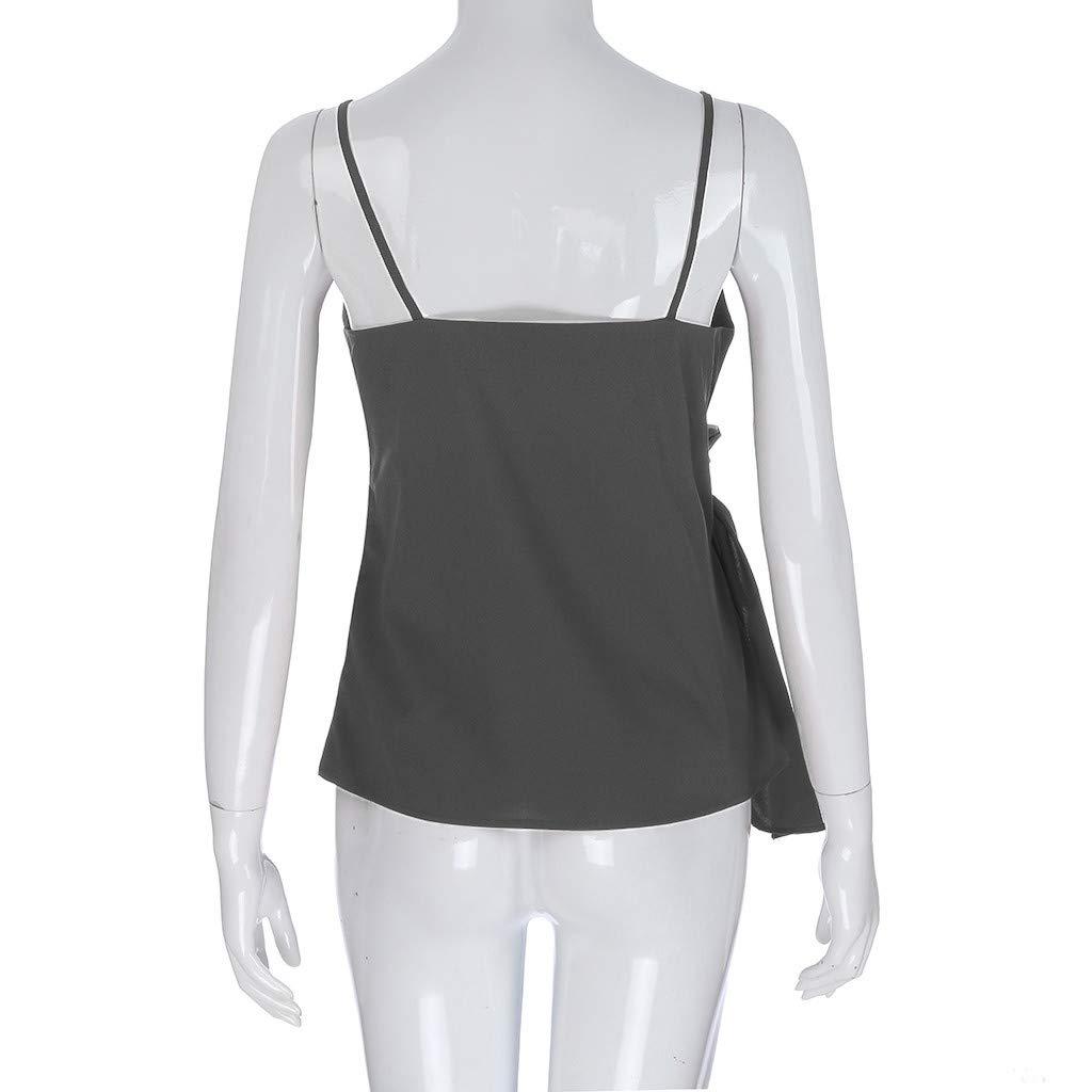 Blouses for Women Fashion 2019,YEZIJIN Women Summer Fashion Casual Camis Sleeveless Crop Ruffle Solid Bandage Tops Gray by Yezijin_Women's Wear (Image #5)