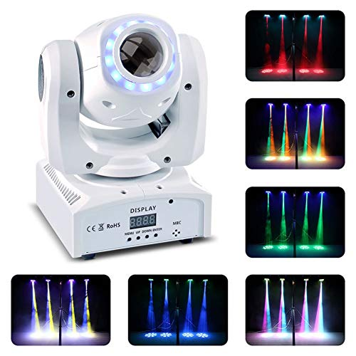 U`King 50W Moving Head Stage Lights 8 Gobos RGBW LED Spotlight with Marquee/Static LED Circle 9/11 Channels DMX for Disco Club Party Wedding -