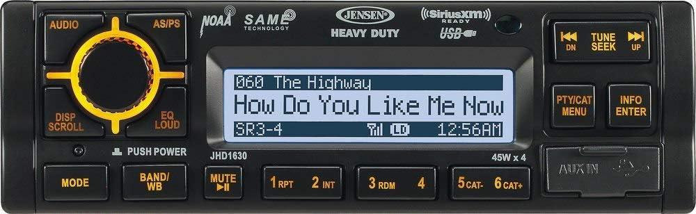 FM Renewed Jensen JHD1630B Heavy Duty AM iPod Black 45 Watts x 4 Speaker Output WB and iPhone Vehicle Rugged Stereo System