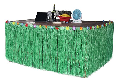 Hawaiian Hibiscus Table Skirt With Color String   Silk Faux Flowers Party Decoration  Green  9 Ft