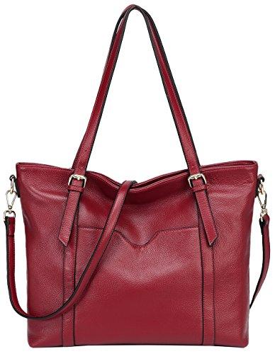 Jair Vintage Large Shoulder Handbags Pebbled Leather Designer Womens Tote - Red Deep Handbag Leather