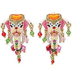 Multicolor Painted Goldtone Elephant Earrings
