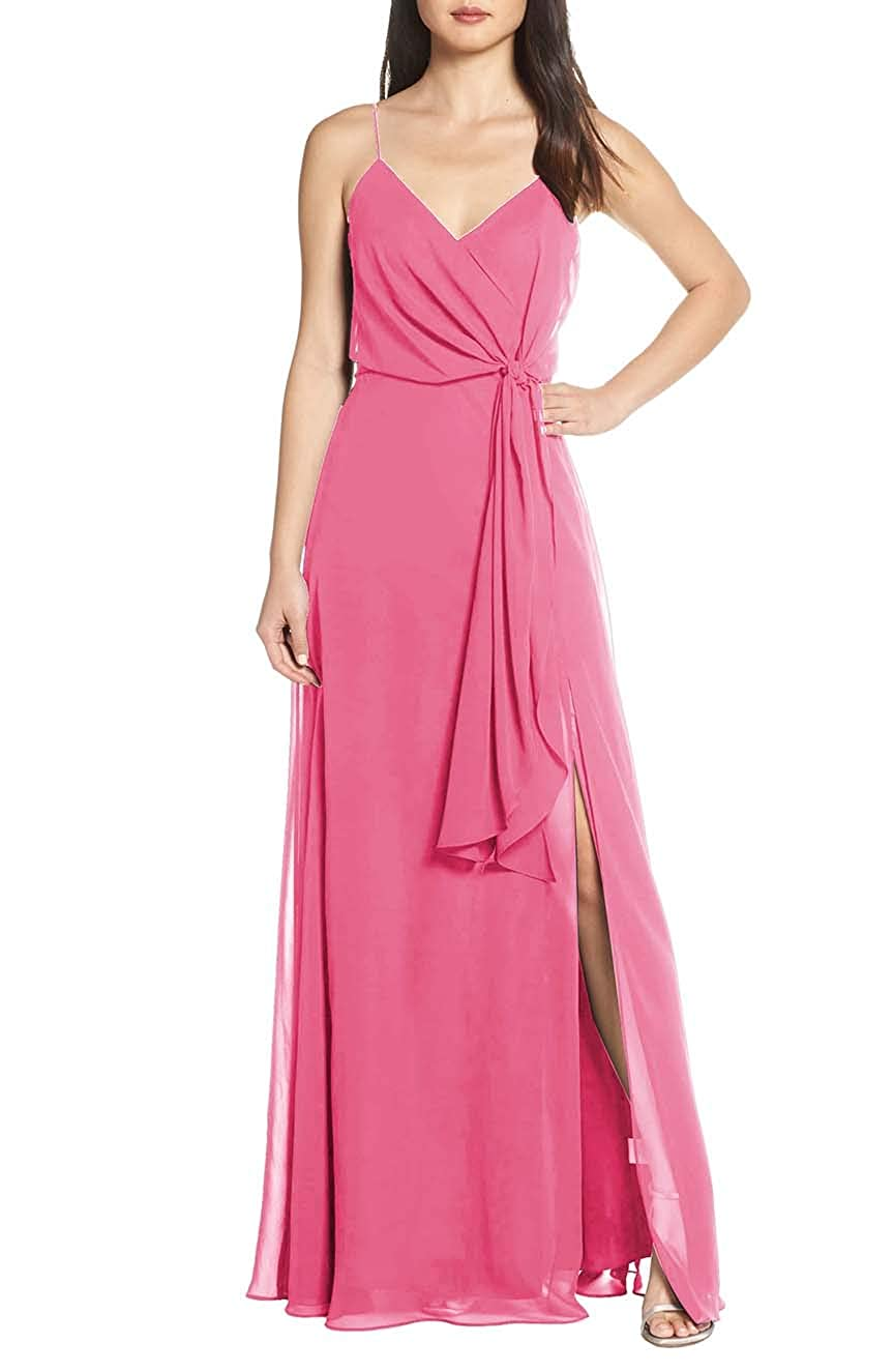 Watermelon V Neck Spaghetti Strap Evening Dress for Women Formal Bridesmaid Party Prom Gown