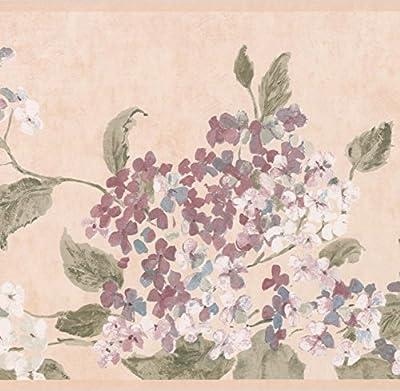 White Magenta Flowers Beige Floral Wallpaper Border Retro Design, Roll 15' x 9.5''