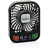Welltop 3 Mini Pocket Fan with LED Flashlight Electric Personal Fans 3 Speeds Mini USB Rechargeable Summer Fan Portable Table Fan with Built-in Battery Fan and Flashlight 2-in-1(Black)