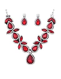 Yazilind Women Jewelry Set Silver Plated Red Stunning Crystal Drop Shaped Chunky Necklace Earring for Party