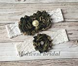 Handmade Ivory or white Lace Camo Custom Handmade Wedding Garter Vintage