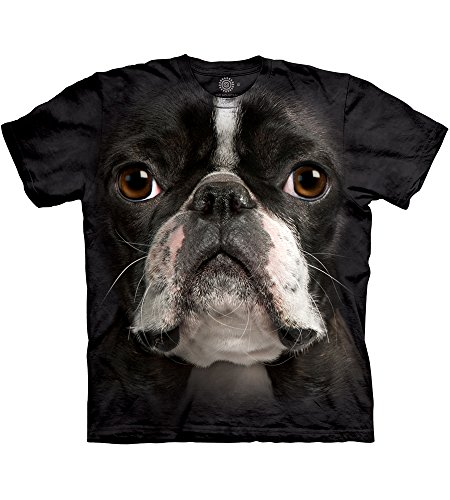 The Mountain Boston Terrier Face Tie-Dyed Black Hi-Definition T-Shirt -Large