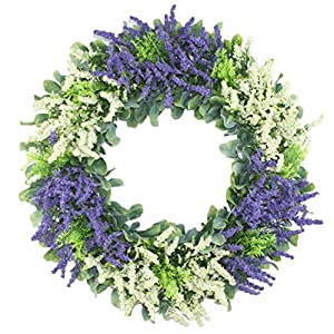 "Delicaft 16"" Artificial Wreath Plastic Spring Front Door Wreath,Handcrafted on Plastic Base 12"